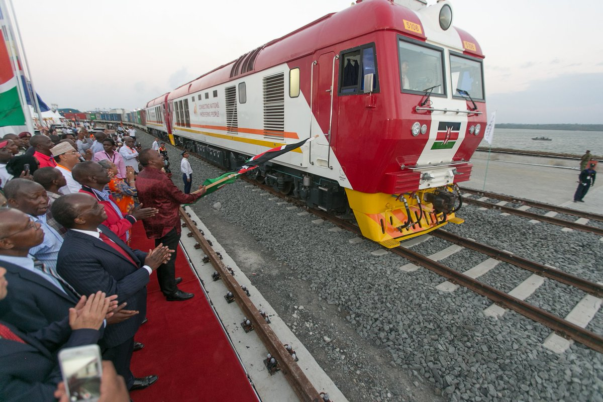 First cargo train from Mombasa to Nairobi  along  the new SGR tracks unveiled