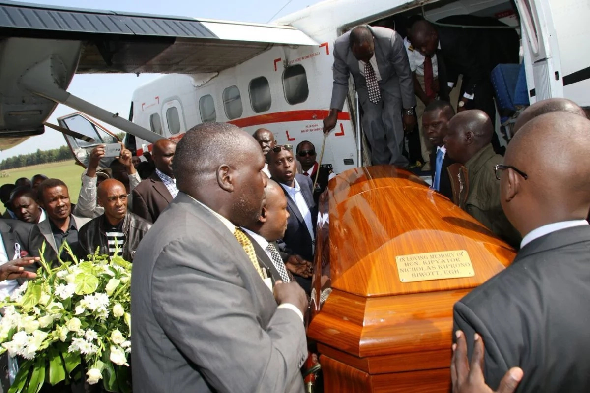 The body of the late former minister Nicolas Biwott arrives in Eldoret a head of Burial Thursday