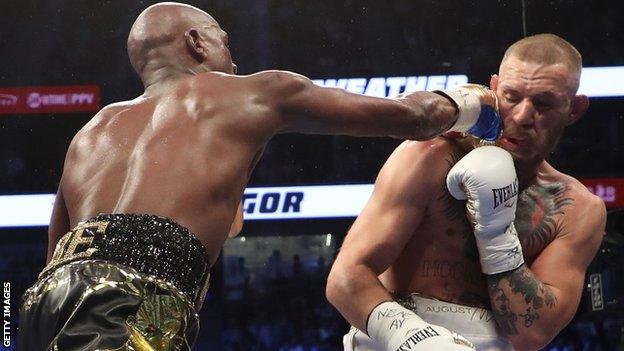Mighty Floyd Mayweather   overpowers  Conor McGregor in 10th round in Las Vegas
