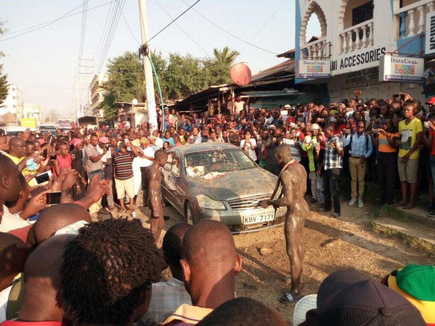 Which craft comes a live in Mombasa as two suspected car thieves are caught by evil powers