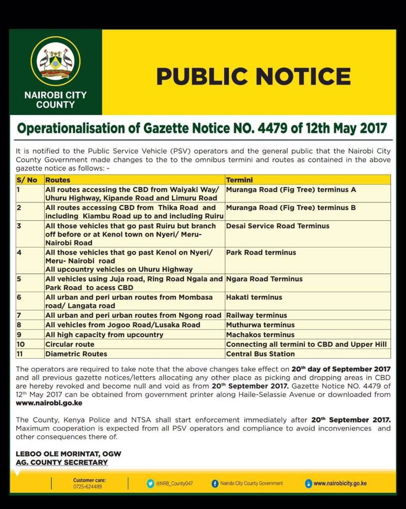 A new Bi-law prohibiting public service vehicles from entering Nairobi CBD to be effective next week