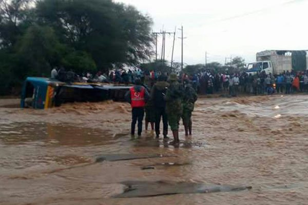 Passengers of the lii-fated  bus heading to Lodwar rescued