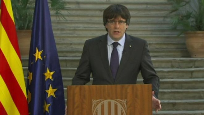 Catalan ex-leader Carles Puigdemont vows to resist takeover