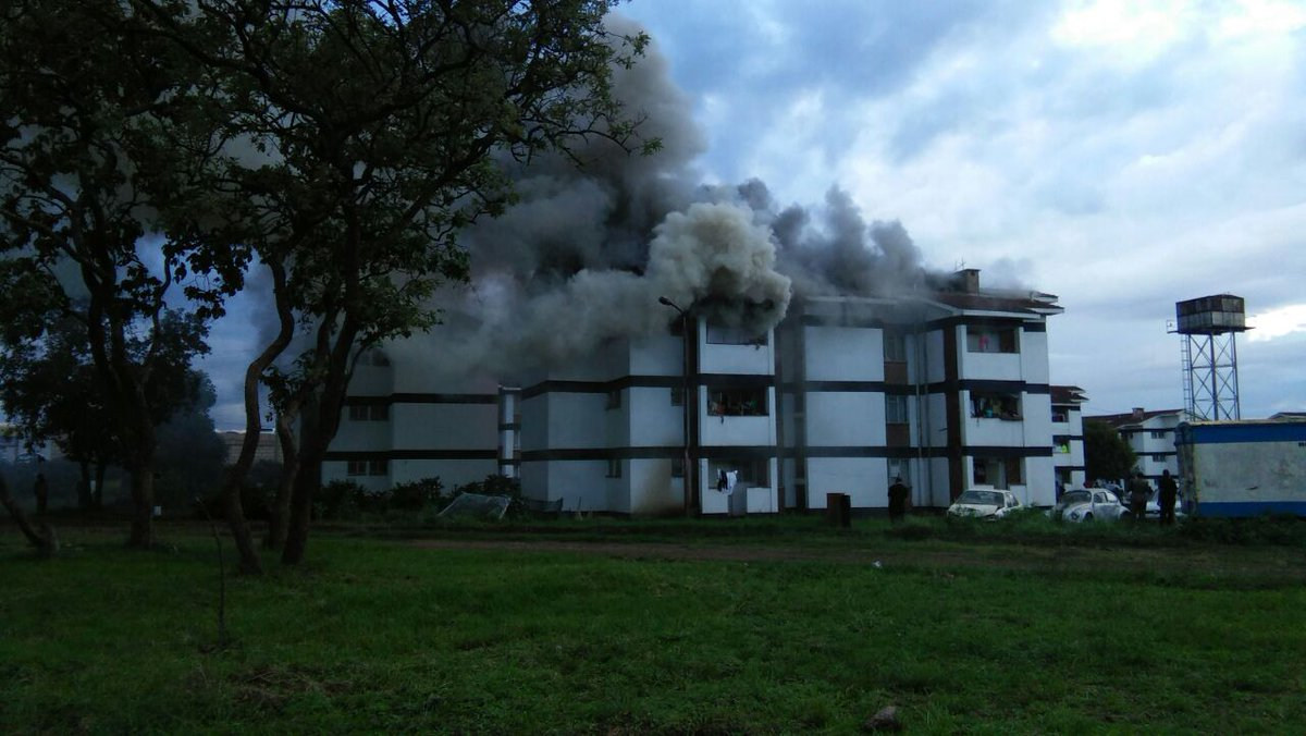 Property of unknown value goes up in flames as fire engulfs Kasarani Police quarters in Nairobi
