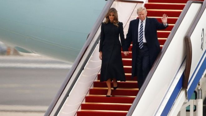 Trump lands in China for talks with Xi amid North Korea tensions