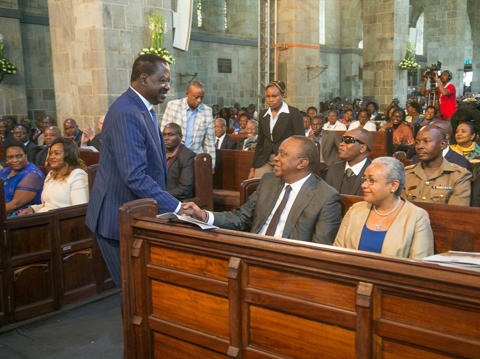 Kenyatta and Odinga attend a church service at All saints cathedral as Church marks 100th Anniversary