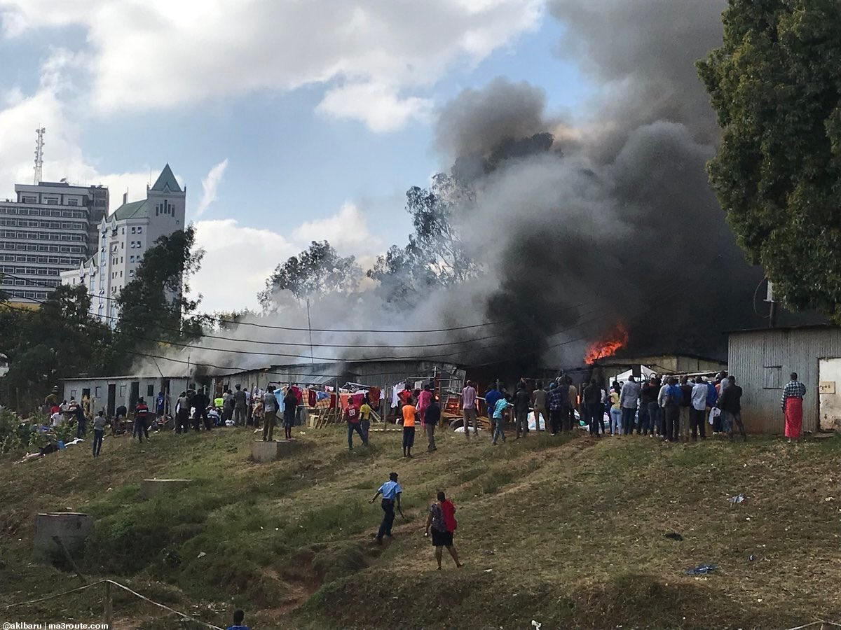 Over 50 police officer left homeless as  fire burns  structures at central police station in Nairobi.