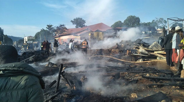 Kisii traders count huge losses as fire destroys kiosks