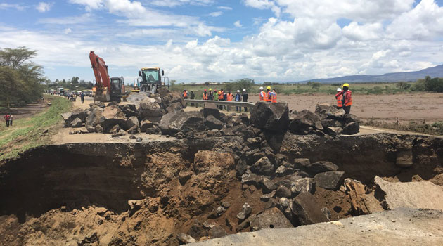 Traffic on  Mai Mahiu-Suswa road disrupted once more as  rains washes away a section of the road  repaired last week