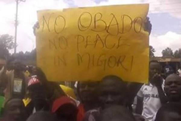 In Obado's name:Supporters protest demanding  the governor released