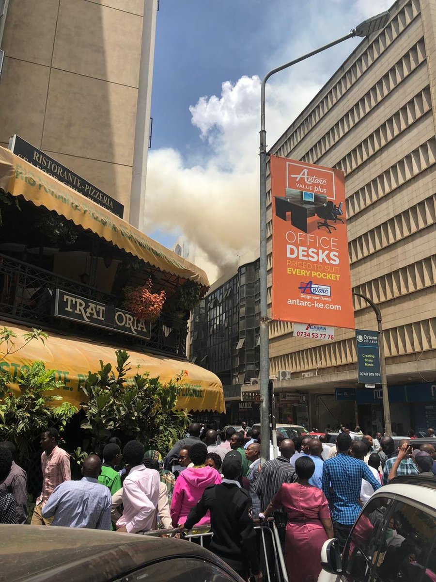 Three people sustains injuries as fire brakes out at the 20th Century building in Nairobi