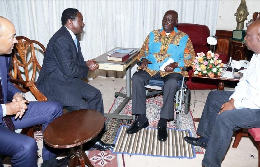 Kalonzo, Peter Kenneth visit former president Moi at his Kabarak home  to condole with him