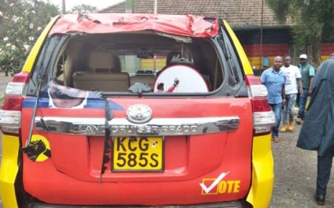Police launch investigations after Jubilee party kibra candidate McDonaild Mariga's car is destroyed