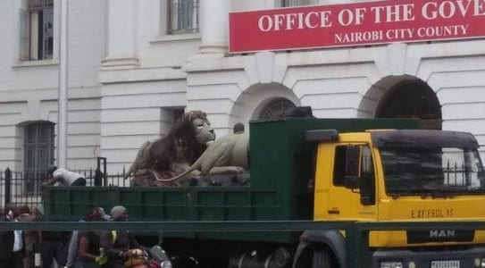 Sonko's lion Statue removed from City Hall