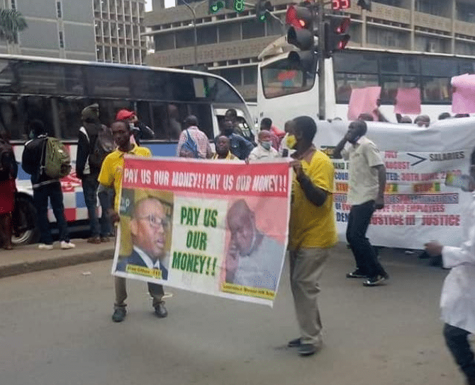 Former Tuskys Employees  Protests In Nairobi, Demands 3 Months Pay