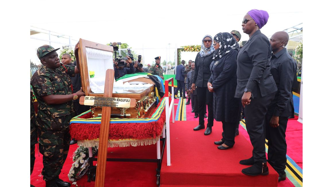 Thousands turn out at Uhuru stadium in Tanzania to pay their last respects to Magufuli