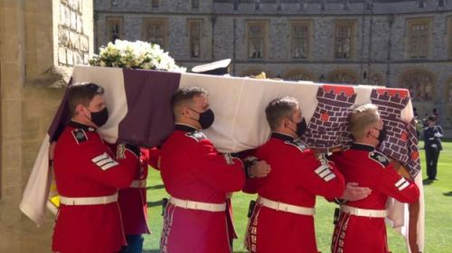 CURTAIN FAILS:Prince Philip funeral held at St George's Chapel in Windsor Castle