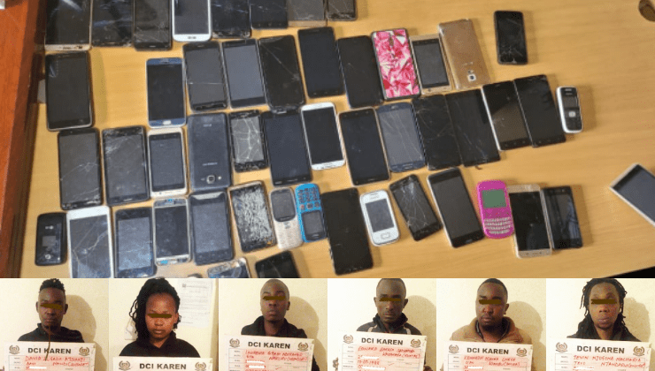 DCI detectives  arrests Six suspects  over Southern Bypass robberies; 112 mobile phones recovered