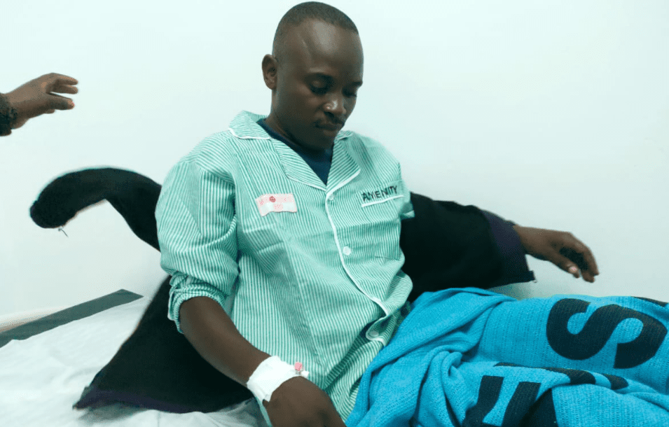 A man in Kitui nurse snake bites injury after a Snake Dropped  From Sky, Landed  in his  Car