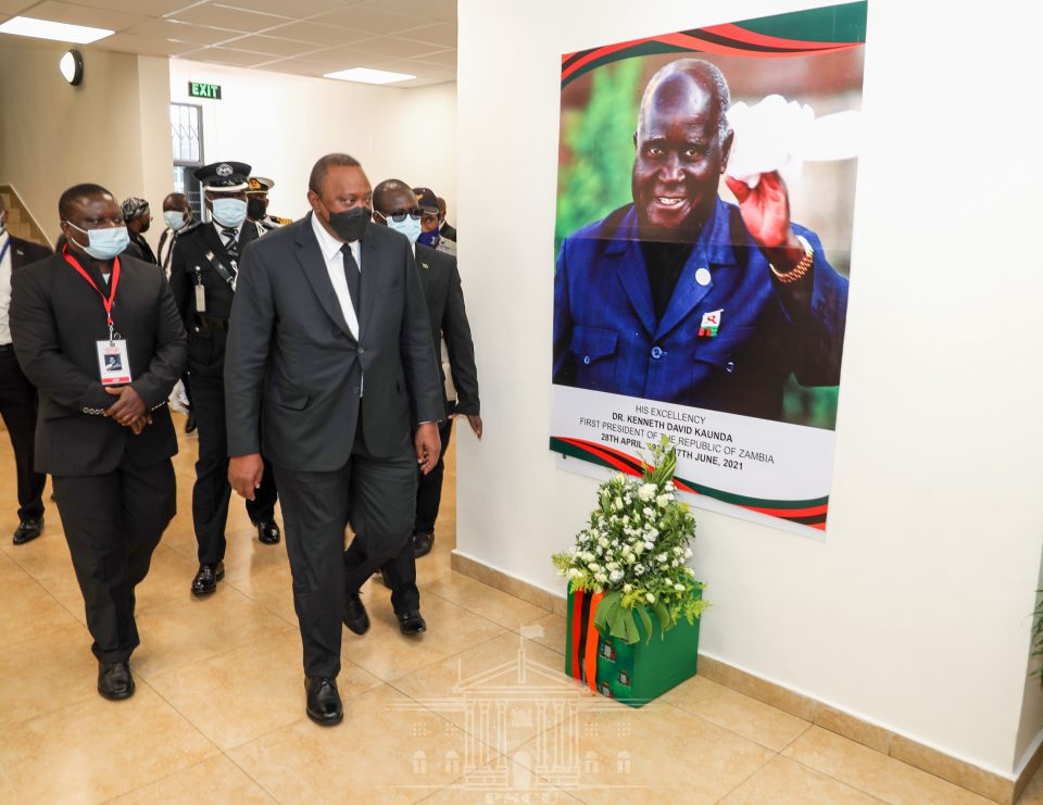 Uhuru arrives in Zambia for the State funeral of Zambia's founding father Dr. Kenneth David Kaunda.
